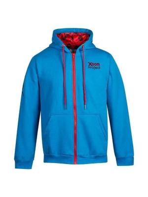 Zipped Hoodie Xoom Skull Logo Blue hetwodwinkeltje.nl