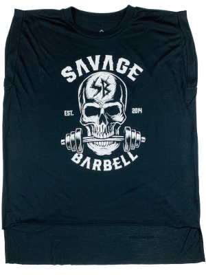 BITE ME SAVAGE BARBELL ROLLED CUFF TEE