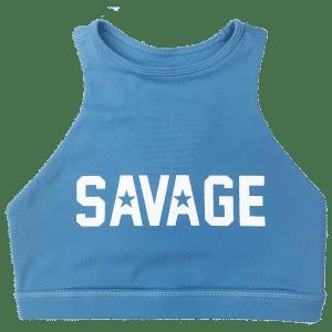 Blue-steel-high-neck-sports-bra-savage-Barbell-hetwodwinkeltje.nl